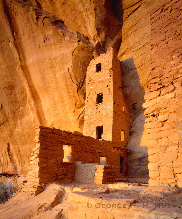 0405-1093 ~ Copyright: George H. H. Huey ~ Square Tower House at dusk. Chapin Mesa. Ancestral Puebloan Culture [aka Anasazi], ca. 12th/13th century A.D. This site had seven kivas and seventy-plus rooms. Mesa Verde National Park, Colorado.