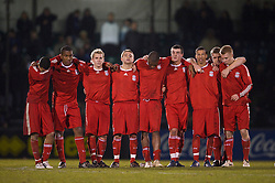 BRISTOL, ENGLAND - Thursday, January 15, 2009: Liverpool's players stand to watch the penalty shoot-out against Bristol Rovers during the FA Youth Cup match at the Memorial Stadium. L-R: Thomas Ince, Andre Wisdom, Chris Buchtmann, Jack Metcalf, David Amoo, James Ellison, Nathan Eccleston, captain Joe Kennedy and Lauri Dalla Valle. (Mandatory credit: David Rawcliffe/Propaganda)