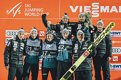 09.03.2020, Lysgards Schanze, Lillehammer, NOR, FIS Weltcup Skisprung, Raw Air, Lillehammer, Herren, Siegerehrung, im Bild Sieger Peter Prevc (SLO) mit Team // Winner Peter Prevc of Slovenia with Team during the winner ceremony for the 2nd Stage of the Raw Air Series of FIS Ski Jumping World Cup at the Lysgards Schanze in Lillehammer, Norway on 2020/03/09. EXPA Pictures © 2020, PhotoCredit: EXPA/ JFK
