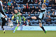 Rhys Murphy forward for AFC Wimbledon (39) takes a shot at goal during the Sky Bet League 2 match between Wycombe Wanderers and AFC Wimbledon at Adams Park, High Wycombe, England on 2 April 2016. Photo by Stuart Butcher.