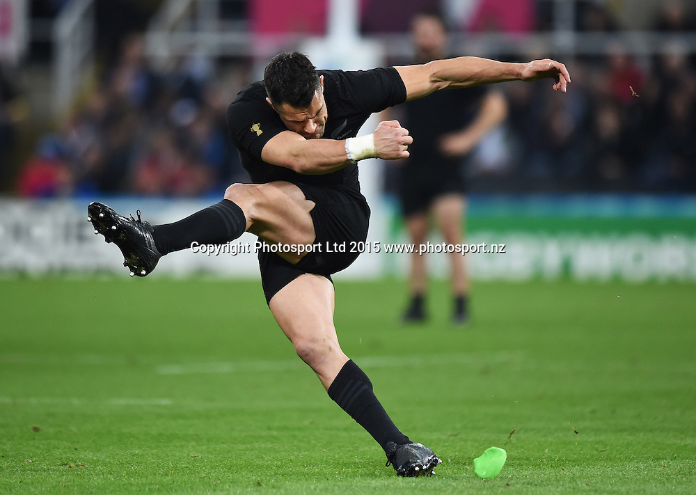 Dan Carter during the New Zealand All Blacks v Tonga Rugby World Cup 2015 match. St James' Park in Newcastle. UK. Friday 9 October 2015. Copyright Photo: Andrew Cornaga / www.Photosport.nz