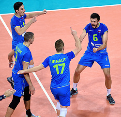 Dejan Vincic #9, Mitja Gasparini #6, Tine Urnaut #17 during volleyball match between National teams of Poland and Slovenia in Quarterfinals of 2015 CEV Volleyball European Championship - Men, on October 14, 2015 in Arena Armeec, Sofia, Bulgaria. Photo by Ronald Hoogendoorn / Sportida