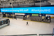 UNITED KINGDOM, London: 28 April 2020 <br /> A desolate Waterloo train station at 10:59am this morning as the wet weather and government guidelines to help prevent the spread of the coronavirus continue to keep people indoors. The weather is set to stay wet for the next few days according to the Met Office.