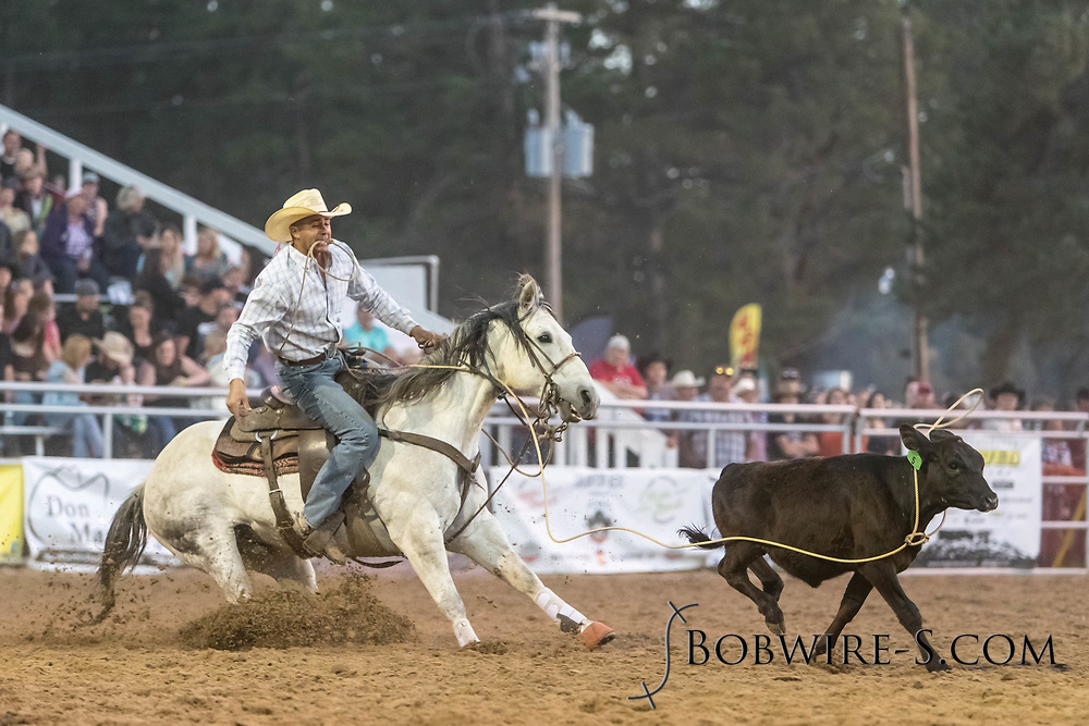 Tie-down roper Darnell Johnson makes his run during the second performance of the Elizabeth Stampede on Saturday, June 2, 2018.