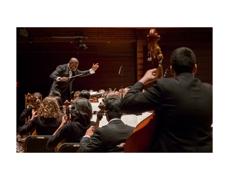 Project 440's All City High School Music Festival performed at Verizon Hall in Philadelphia's Kimmel Center.Here, conductor Joseph Conyers leads the orchestra.  © Ed Hille