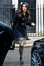 © Licensed to London News Pictures. 23/01/2016. London, UK. Amal Clooney leaving Downing Street after a meeting with David Cameron regarding her client deposed former president of the Maldives Mohamed Nasheed on Saturday, 23 January 2016. Photo credit: Tolga Akmen/LNP