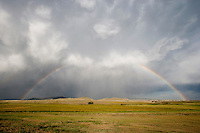 Rainbow and storm at Westcliffe, Colorado