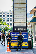 "01 JUNE 2014 - BANGKOK, THAILAND: Thai troops on duty near Gaysorn, a high end shopping mall in Bangkok. The Thai army seized power in a coup that unseated a democratically elected government on May 22. Since then there have been sporadic protests against the coup. The protests Sunday were the largest in several days and seemed to be spontaneous ""flash mobs"" that appeared at shopping centers in Bangkok and then broke up when soldiers arrived. Protest against the coup is illegal and the junta has threatened to arrest anyone who protests the coup. There was a massive security operation in Bangkok Sunday that shut down several shopping areas to prevent the protests but protestors went to malls that had no military presence.    PHOTO BY JACK KURTZ"