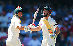 Australia's Shaun Marsh celebrates his century during day four of the Ashes Test match at Sydney Cricket Ground.