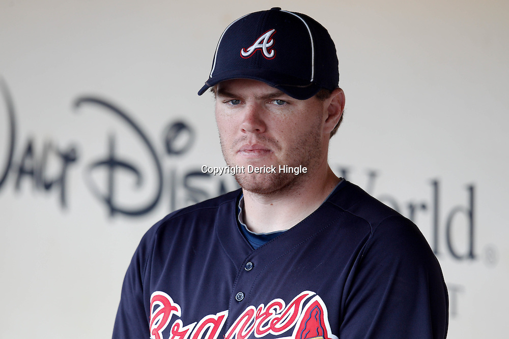 March 5, 2011; Lake Buena Vista, FL, USA; Atlanta Braves first baseman Freddie Freeman (5) before a spring training exhibition game against the New York Mets at Disney Wide World of Sports complex.  Mandatory Credit: Derick E. Hingle