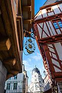 La vielle ville de Vannes avec ses maisons à Colombages, Bretagne, France.