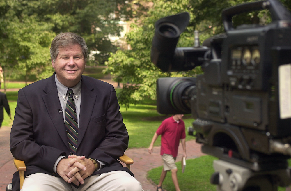 Hub Burton during Television interview about the Bicentennial on College Green