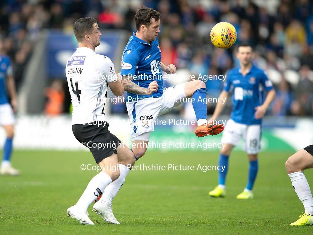 St Mirren v St Johnstone…19.10.19   St Mirren Park   SPFL<br />Danny Swanson and Paul McGinn<br />Picture by Graeme Hart.<br />Copyright Perthshire Picture Agency<br />Tel: 01738 623350  Mobile: 07990 594431