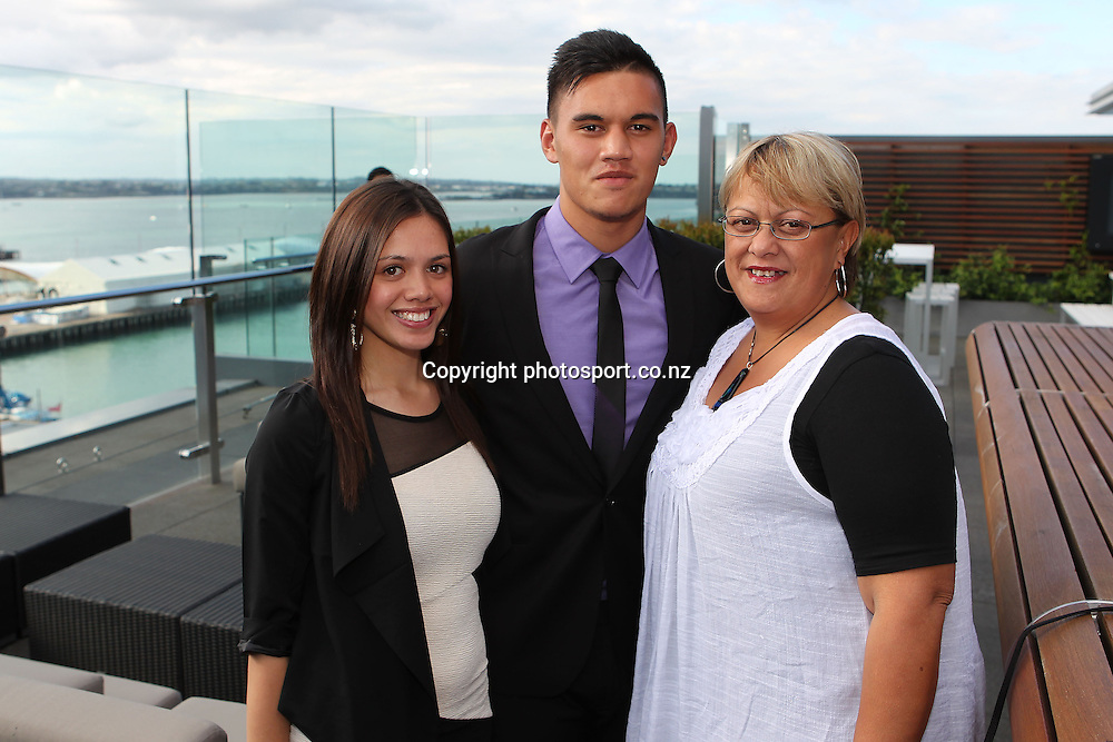 2012 New Zealand Rugby League Awards at Westpac House, Britomart. From left Radison Tarawa, Reubenn Rennie and his mum Tania Rennie. Auckland Wednesday, November 7