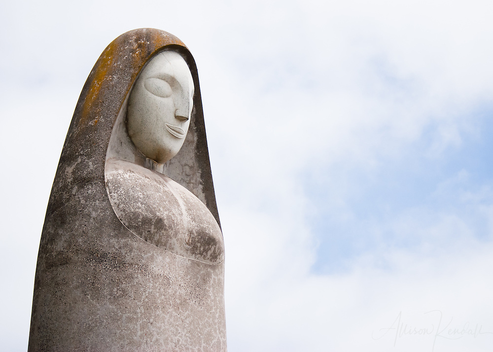 The Madonna of Peace (1970) sculpture, by Beniamino Benvenuto Bufano (1898-1970) gazes across the San Francisco Bay