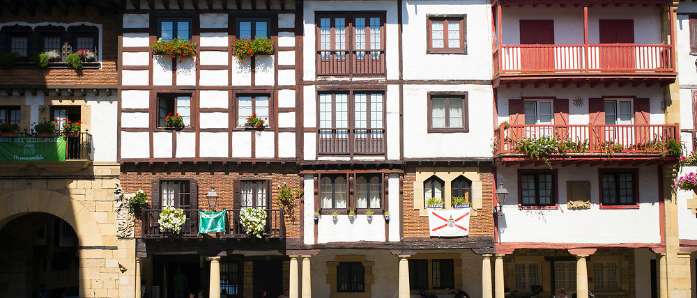 Medieval half-timbered architecture of flats in Hondarribia, in Gipuzkoa, Basque Country, Spain
