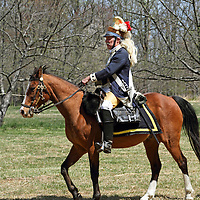 A mounted Dragoon soldier of the American Continental Army during a re-enactment at Jockey Hollow National Park, new Jersey, USA, Parts of the Continental Army wintered at Jockey Hollow in 1789-1782.<br /> <br /> For Editorial Purposes.