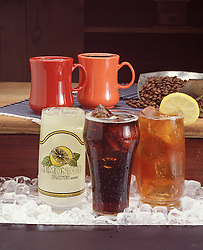 Hot and cold drinks.  coffee tea lemonade cola hot cold drinks ice cubes