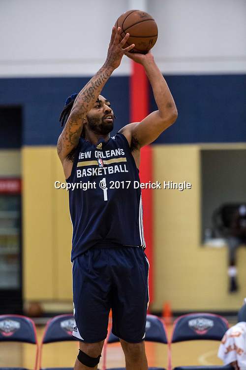 James Young (1) shoots during New Orleans Pelicans summer league practice in Metairie, La. Tuesday, July 4, 2017.