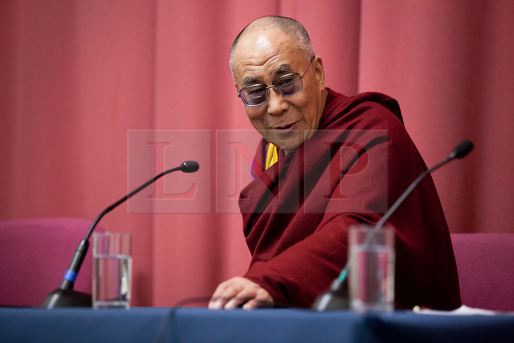 © Licensed to London News Pictures. 19/06/2012. LONDON, UK. His Holiness the Dalai Lama is seen at the University of Westminster's Oxford Street campus as he gives a talk on the values of democracy and Tibet in London today (19/0612). The talk came as part of the Dalai Lama's visit to London to spread a message of non-violence, dialogue and universal responsibility, particularly to young people.. Photo credit: Matt Cetti-Roberts/LNP