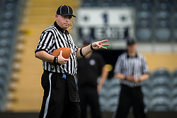 Referee signals to the umpire - Mandatory by-line: Jason Brown/JMP - 27/08/2016 - AMERICAN FOOTBALL - Sixways Stadium - Worcester, England - Kent Exiles v East Kilbride Pirates - BAFA Britbowl Finals Day
