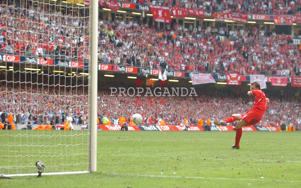 CARDIFF, WALES - SATURDAY, MAY 13th, 2006: Liverpool's Dietmar Hamann scores from the penalty spot during the shoot-out to decide the FA Cup Final against West Ham United at the Millennium Stadium. (Pic by Jason Roberts/Propaganda)