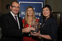 Patrick Brennan Snap Printing presenting  Patricia Lohan, Lohan's Bar and Restaurant Salthill  with her Marketing Through Irish Award and Chariperson of the Marketing Institute Emma Dillon Leetch,(centre), during the Marketing Institute of Ireland West Region's Annual Awards at a gala awards attended by over 160 people in the Radisson Blu Hotel, Galway .  Photo:Andrew Downes. .