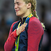 Helen Maroulis wept after receiving the United States' first Olympic gold in women's wrestling, defeating three-time Olympic champion Saori Yoshida of Japan Thursday evening at Carioca Arena 2 during the 2016 Summer Olympics Games in Rio de Janeiro, Brazil.
