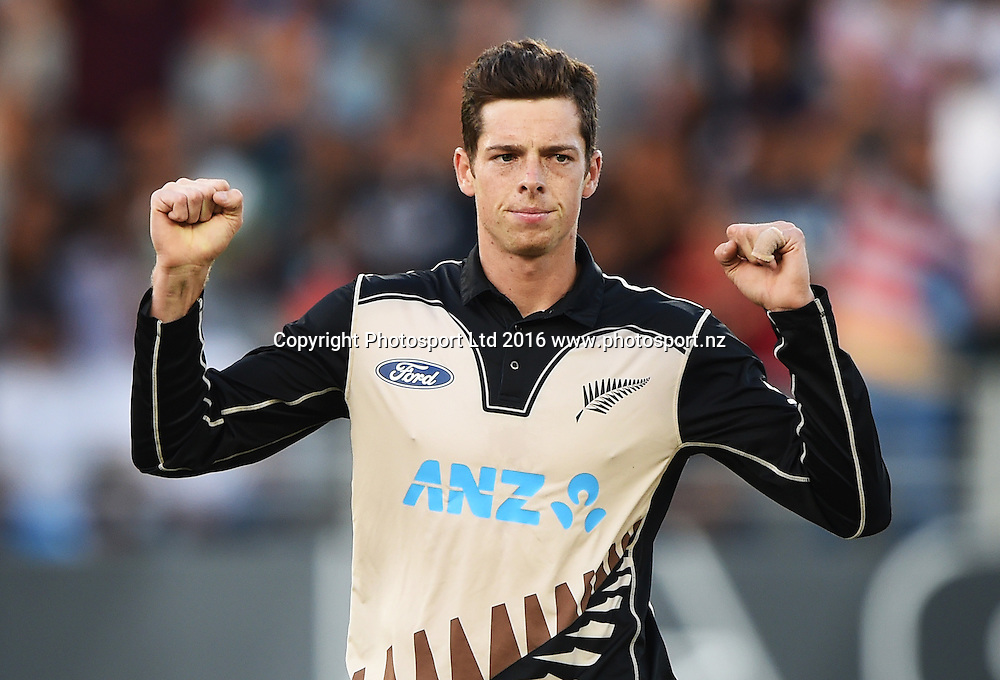Mitchell Santner celebrates the wicket of Malik during the Twenty20 match between New Zealand Black Caps and Pakistan at Eden Park in Auckland, New Zealand. Friday 15 January 2016. Copyright photo: Andrew Cornaga / www.photosport.nz
