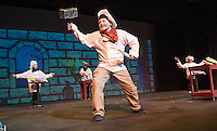 "Chef Louis (Ryan Witham) chases his main course (Sebastian the crab) off stage during dress rehearsal for ""The Little Mermaid Jr"" at Gilford Middle School.  (Karen Bobotas/for the Laconia Daily Sun)"