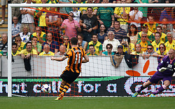 Hull City's Robbie Brady scores the winning goal from the penalty spot  - Photo mandatory by-line: Matt Bunn/JMP - Tel: Mobile: 07966 386802 24/08/2013 - SPORT - FOOTBALL - KC Stadium - Hull -  Hull City V Norwich City - Barclays Premier League