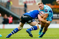 Jack Innard of Exeter Chiefs is tackled by Dave Attwood of Bath Rugby - Mandatory by-line: Ryan Hiscott/JMP - 03/11/2018 - RUGBY - Sandy Park Stadium - Exeter, England - Exeter Chiefs v Bath Rugby - Premiership Rugby Cup
