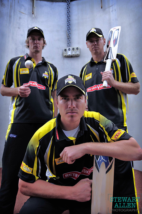 10/10/2009 SPORT: SPORT WA Warriors are preparing for the cricket season opening on sunday Pic shows Michael Hogan, captain Marcus North and Ashlee Noffke at the WACA   Story Glen Foreman
