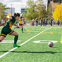 3rd year forward Sydney Langen (28) of the Regina Cougars in action during the Women's Soccer Home Game on September 24 at U of R Field. Credit Matt Johnson/©Arthur Images 2017