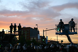 Security on risers outside the Pepsi Center, location of the 2008 Democratic National Convention, August 27, Denver, Colorado.