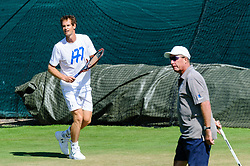 &copy; Licensed to London News Pictures. <br /> The Championship Wimbledon 2017 Wimbledon, UK. 02 07 2017<br /> CAPTION:   Andy Murray practice session on the Aorangi Park court 15 at Wimbledon the day before the start of the 2017 Championship with his coach Ivan Lendl.<br /> Photo credit: Peter van den Berg/LNP