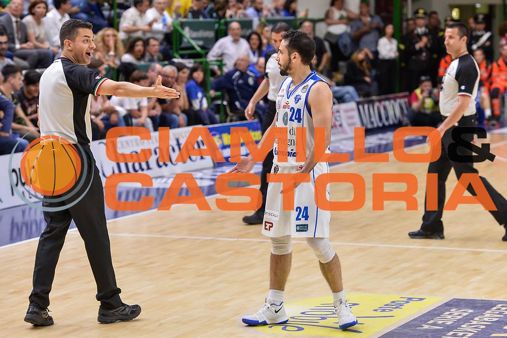 Denny Borgioni, Rok Stipcevic<br /> Banco di Sardegna Dinamo Sassari - Dolomiti Energia Aquila Basket Trento<br /> Legabasket Serie A LBA Poste Mobile 2016/2017<br /> Playoff Quarti Gara3<br /> Sassari 16/05/2017<br /> Foto Ciamillo-Castoria