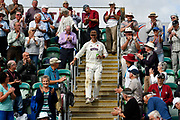 Marcus Trescothick of Somerset goes into the Marcus Trescothick Stand to celebrate with the members while on a lap of honour after beating Middlesex to secure survival in Division 1 of the Specsavers County Champ Div 1 match between Somerset County Cricket Club and Middlesex County Cricket Club at the Cooper Associates County Ground, Taunton, United Kingdom on 28 September 2017. Photo by Graham Hunt.