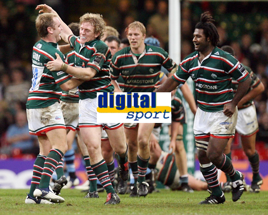 Photo: Rich Eaton.<br /> <br /> Cardiff Blues v Leicester Tigers. Heineken Cup. 29/10/2006. Sam Vesty second from left celebrates with Andy Goode left after his last minute drop goal confirmed the win for Tigers 21-17