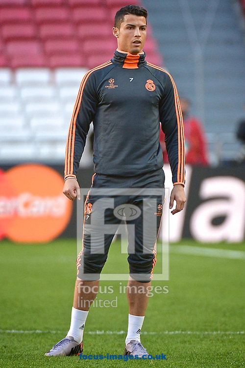 Cristiano Ronaldo of Real Madrid pictured during Real Madrid training at Est&aacute;dio da Luz, Lisbon<br /> Picture by Ian Wadkins/Focus Images Ltd +44 7877 568959<br /> 23/05/2014
