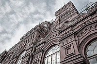 Detail of Facade of the State Historical Museum in Moscow while snowing in winter