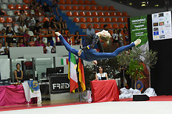 July 28, 2018 - Chieti, Abruzzo, Italy - Rhythmic gymnast Olena Diachenko of Ukraine performs her clubs routine during the Rhythmic Gymnastics pre World Championship Italy-Ukraine-Germany at Palatricalle on 29th of July 2018 in Chieti Italy. (Credit Image: © Franco Romano/NurPhoto via ZUMA Press)