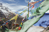 Prayer flags flutter in the wind as the himalayan peaks stand proud.