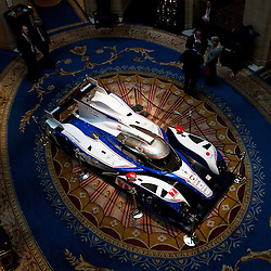 Looking down on the Toyota TS030-Hybrid in the Royal Automobile Club in Pall Mall, London. On display for the FIA-WEC Championship launch on the 22nd March 2013. WAYNE NEAL | STOCKPIX.EU