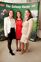 11/07/2012. Paula Feeney, Hotel Meyrick,  Sandra ginnelly, Galway Race course and Judith Pasztor-Duffy, g Hotel at the 2012 Galway Races Summer Festival, official launch  in the g Hotel, Galway. The seven day festival runs from Monday 30th July to Sunday 5th August. Photo:Andrew Downes. (first use repro free).