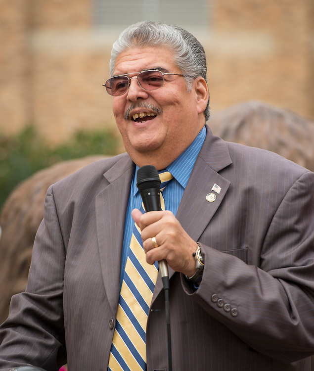 Houston ISD trustee Manuel Rodriguez comments during a groundbreaking ceremony at Milby High School, December 18, 2014.