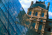 FRANCE, PARIS, CITY CENTER The Louvre Museum with the I. M. Pei glass pyramid in the Grand Courtyard