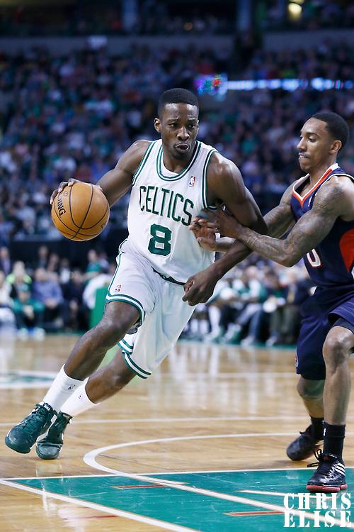 29 March 2013: Boston Celtics power forward Jeff Green (8) drives past Atlanta Hawks point guard Jeff Teague (0) during the Boston Celtics 118-107 victory over the Atlanta Hawks at the TD Garden, Boston, Massachusetts, USA.