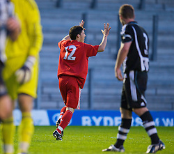 WARRINGTON, ENGLAND - Wednesday, April 29, 2009: Liverpool's Daniel Pacheco celebrates scoring his second goal of the game, the Reds' fifth, against Newcastle United during the FA Premiership Reserves League (Northern Division) match at the Halliwell Jones Stadium. (Photo by David Rawcliffe/Propaganda)