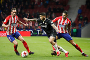 Atletico Madrid's Uruguayan defender Diego Godin vies for the ball during the Spanish Cup, Copa del Rey quarter final, 1st leg football match between Atletico Madrid and Sevilla FC on January 17, 2018 at Wanda Metropolitano stadium in Madrid, Spain - Photo Benjamin Cremel / ProSportsImages / DPPI